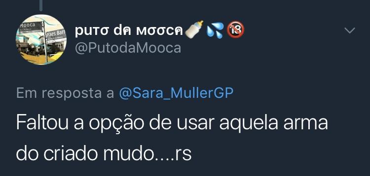 Print Resposta Enquete Twitter @PutodaMooca Puto da Mooca