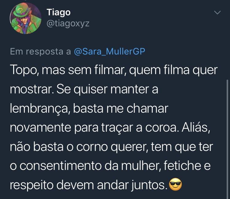 Print Resposta Enquete Twitter @tiagoxyz Tiago