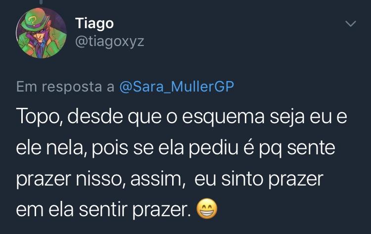 Resposta Enquete Sara Müller @tiagoxyz