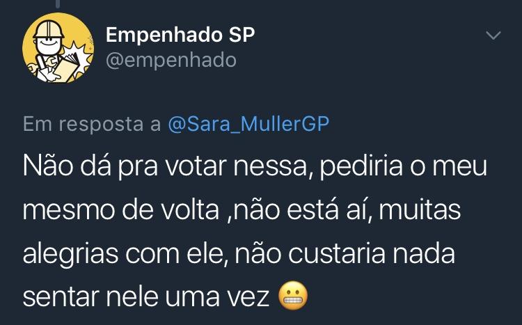 Resposta Enquete Twitter Sara Müller @empenhado