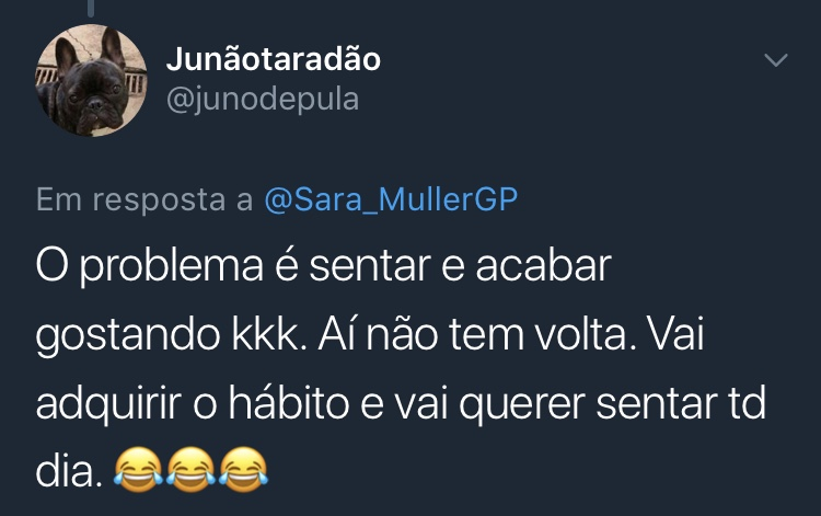 Resposta Enquete Twitter Sara Müller @junodepula