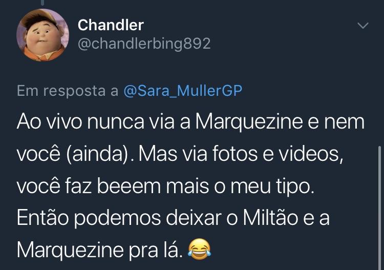 Resposta Enquete Twitter Sara Müller @chandlerbing892