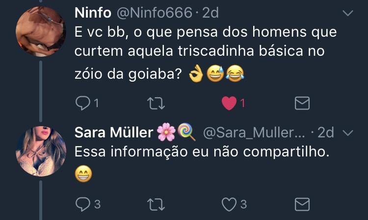 Resposta Enquete Twitter Sara Müller @Ninfo666
