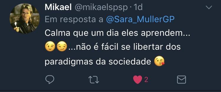 Resposta Enquete Twitter Sara Müller @mikaelspsp